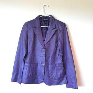 100% Leather Jacket- Purple